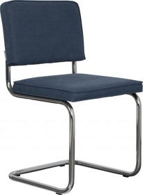 Krzesło RIDGE VINTAGE w kolorze granatowym  Materiał: Obicie krzesła wykonane z bawełny Rama krzesła - metal, polerowany  Wymiary: Wysokość...