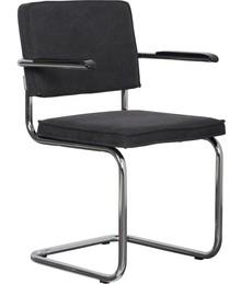 Fotel RIDGE VINTAGE w kolorze czarnym. Rama wykonana z metalu, polerowana.