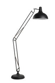 Lampa podlogowa Office w kolorze czarnym.  Wymiary klosza: 38x38x30cm, Podstawa o średnicy 34.5 cm, Wysokość całkowita: 190 cm Kolor: czarna Materiał:...