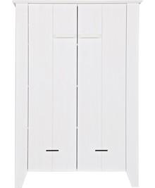 Szafa JOEP biała  Kolor:  - Biały  Wymiary:  - Wysokość: 142 cm - Szerokość: 100 cm - Głębokość: 38 cm  Materiał:  - Drewno sosnowe