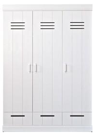 Szafa CONNECT trzydrzwiowa na ubrania  Kolor:  - Biały  Wymiary:  - Wysokość: 195 cm - Szerokość: 140 cm - Głębokość: 53 cm  Materiał: ...