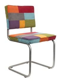 Krzesło RIDGE BRUSHED RIB wielokolorowe - patchwork  Materiał: Obicie krzesła wykonane ze sztruksu: 88% nylon, 12% polyester. Rama krzesła - stal...