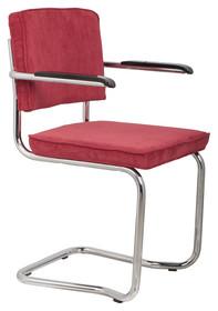 Fotel RIDGE KINK RIB czerwony 21A, marki Zuiver  Materiał: Tapicerka: tkanina, sztruks Rama chromowana  Wymiary:60x48x85 cm  Warianty...