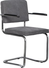 Fotel RIDGE KINK VINTAGE szary  Wymiary:60x48x85 cm  Materiał: Rama wykonana z metalu, polerowana i wygięta; podłokietniki wykonano z bakelitu....