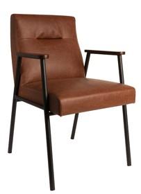 """Fotel FEZ marki DutchBone w kolorze brązowym.  Kształt i design inspirowany jest trendami z lat """"50. Wygodne i proste siedzenie w połączeniu ze..."""