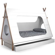 Łóżko w kształcie namiotu TIPI  Kolor:  - Biały  Wymiary:  - Wysokość: 163 cm - Szerokość: 106 cm - Głębokość: 215 cm  Materiał:  -...