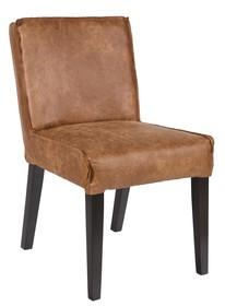 Krzesło jadalniane RODEO  Krzesło jadalniane z serii RODEO. Siedzenie wykonane ze skóry w kolorze brązowym, nogi czarne.  Wymiary:  - Wysokość: 83...