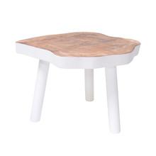 Stolik w kształcie pnia drewna L biały