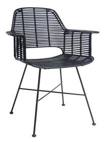 Krzesło rattanowe TUB - czarne