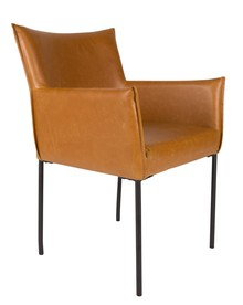 Fotel DION brązowy  Materiał: Vintage PU-skóra w kolorze brązowym/koniakowym Czarna malowana proszkowo rama stalowa Wymiary: 59x64x86,5 cm (SxGxW)...