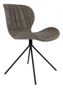 Skórzane krzesło OMG w kolorze szarym. Zarówno siedzenie jak i oparcie zostały wyprofilowane tak, żeby nawet przez długi pracy czas zapewniać komfort....