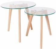 Zestaw dwóch stolików BROR  Materiał: blat - 8 mm hartowanego szkła nogi z litego drewna dębowego  Maksymalne obciążenie: 15 kg...