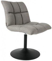 Krzesło obrotowe MINI BAR jasnoszare  Materiał: Tapicerka - 100% tkaniny poliestrowej w kolorze ciemnoszarym Rama - obrotowa ze stali w kolorze czarnym ...