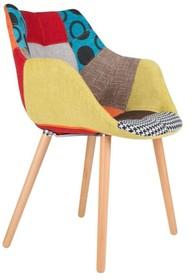 Krzesło TWELVE PATCHWORK  Materiał: Tapicerka: miękka, komfortowa tkanina 100% poliester Podstawa: nogi drewniane - bukowe  Wymiary: Szerokość: 60 cm...