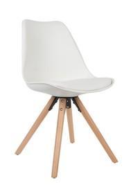 Krzesło TRYCK białe  Materiał: Siedzisko: tworzywo sztuczne z poduszką obitą ekoskórą Nogi: lite drewno bukowe Maksymalne obciążenie: 125 kg...
