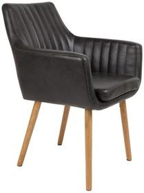 Krzesło PIKE czarne  Materiał: Obicie: Vintage PU-skóra w kolorze czarnym Nogi: z drewna dębowego Maksymalne obciążenie: 125 kg Wymiary:...