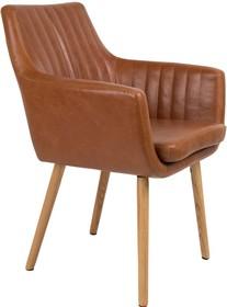 Krzesło PIKE brązowe  Materiał: Obicie: Vintage PU-skóra w kolorze koniaku Nogi: z drewna dębowego Maksymalne obciążenie: 125 kg Wymiary:...