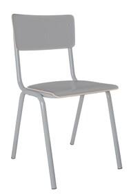Krzesło BACK TO SCHOOL HPL szare  Materiał: Rama wykonana z metalu, siedzisko i oparcie z lakierowanej sklejki  Wymiary: Wysokość: 83 cm Szerokość:...