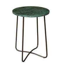Stolik EMERALD  Materiał: Blat - 15 mm zielony marmur Nogi - 13mm malowane proszkowo w kolorze brązu  Wymiary: 41x55 cm (Ø x H)