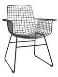Krzesło metalowe WIRE czarne z podłokietnikami  Wymiary: 72x56x86cm Wysokość oparcia: 44cm