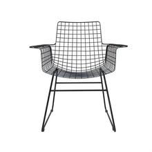 Krzesło metalowe WIRE czarne z podłokietnikami
