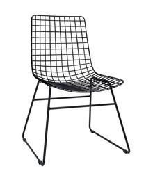 Krzesło metalowe WIRE - czarne