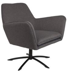 Fotel KNUT w kolorze ciemnoszarym  Materiał: 100% poliester (tapicerka) Zdejmowane pokrycie siedzenia Rama żelaza pokryta czarnym lakierem  Wymiary:...