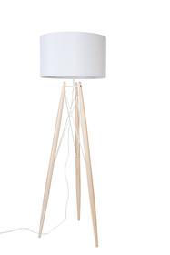 Lampa podłogowa EIFFEL biała  Materiał: lita sosna,Powłoka tekstylna z rzepem. Solidna podstawa z drewna sosnowego, lakierowana na naturalny kolor, z...