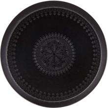 Metalowa taca IRON LADY czarna 55  Wymiary:  - Wysokość: 3 cm - Szerokość: 55 cm - Głębokość: 55 cm  Materiał:  - metal