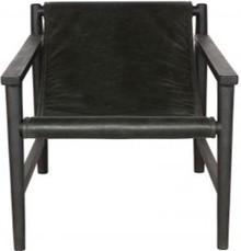 Fotel SLING skórzany czarny  Wymiary:  - Wysokość: 70 cm - Szerokość: 71 cm - Głębokość: 94 cm  Materiał:  - skóra - drewno