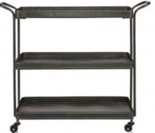 Metalowy barek na kółkach czarny  Wymiary:  - Wysokość: 85 cm - Szerokość: 99 cm - Głębokość: 37 cm  Materiał:  - żelazo