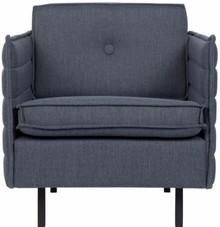 Nowoczesny fotel JAEY COMFORTw kolorze szaro-niebieskim, marki Zuiver.  Materiały: Poszycie: tkanina 100% polipropylen, kolor szaro-niebieski...