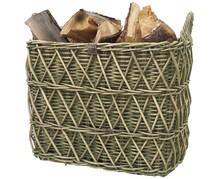 Ręcznie tkane kosz wykonany z rattanu z rustykalnym zielonym wykończeniem. Idealne do przechowywania drewna opałowego do kominka.Wymiary: <br />XL:...