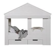 Łóżko w kształcie domku HUISIE bez szuflad  Kolor:  - Biały  Wymiary:  - Wysokość: 187 cm - Szerokość: 99 cm - Głębokość: 210 cm ...