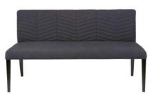 Ławka stołowa NORA granatowa  Kolor:  - Navy  Wymiary:  - Wysokość: 86 cm - Szerokość: 156 cm - Głębokość: 67 cm  Materiał:  - Tkanina