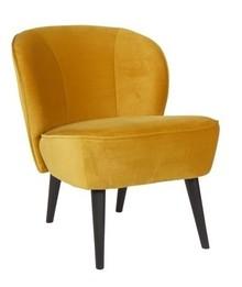 Fotel SARA z aksamitu ochra  Kolor:  - Ochra  Wymiary:  - Wysokość: 70 cm - Szerokość: 59 cm - Głębokość: 71 cm  Materiał:  - Poliester...