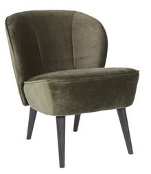 Fotel SARA z aksamitu - ciepły zielony