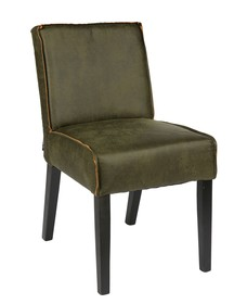 Krzesło jadalniane RODEOwojskowa zieleń - Woood  Krzesło jadalniane z serii RODEO. Siedzenie wykonane ze skóry w kolorze wojskowej zieleni, nogi...