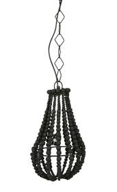 Lampa wisząca mała żyrandol z koralików czarna  Wymiary:  - Wysokość: 28 cm - Szerokość: 23 cm - Głębokość: 23 cm  Materiał:  - drewniane...