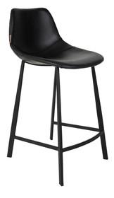 Stołek barowy FRANKY niski czarny marki Dutchbone  Stołek barowy ze skóry w stylu Vintage. Powłoka ze sklejki z pianki PU, gęstość 30-35. Czarna,...