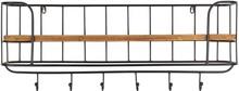 Wieszak STACK marki Dutchbone  Wieszak metalowy z 6 haczykami, malowany proszkowo na kolor czarny. Antyczne wykończenie. Półki z litego drewna w kolorze...