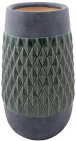 Wazon NITO rozmiar XL marki Zuiver  Szary ceramiczny wazon ze szkliwionym diamentowym wzorem  Wymiary: 21,5 x 40 cm (Ø x H), Otwór: 14 cm Ø
