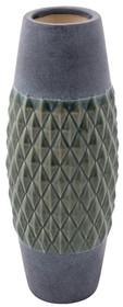Wazon NITO rozmiar L - Zuiver  Szary ceramiczny wazon ze szkliwionym diamentowym wzorem  Wymiary: 14 x 35,5 cm (Ø x H), Otwór:6,5 cm Ø