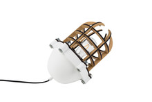 Lampa podłogowa NAVIGATOR biała  Materiał: Podstawa klosza z odlewu aluminiowego malowana proszkowo na biało. Naturalna struktura MDF malowana na czarno...