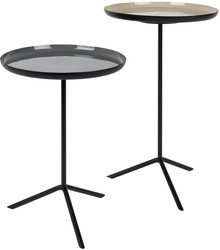 Zestaw dwóch stolików TRIP emaliowane  Materiał: Blat żelazny z powłoką o wyglądzie szkliwa/ emaliowane. Nogi żelazne malowane proszkowo na czarno....
