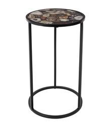 Stolik AGATE marki Dutchbone  Materiał: Blat stołu ze szkła hartowanego i kamieni agat. Rama żelazna, lakierowana proszkowo na czarno.  Wymiary:...