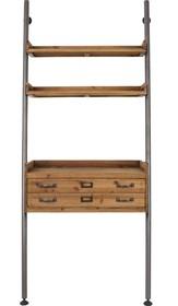 Regał ROOK marki Koosjer  Materiał: Rama żelazna z powłoką proszkowaną w klasycznym wyglądzie, 3 naturalne półki z drewna jodłowego i 1 szuflada z...