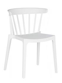 Krzesło Bliss, białe  Kolor:  - Biały  Wymiary:  - Wysokość: 75 cm - Szerokość: 52 cm - Głębokość: 53 cm  Materiał:  - Polipropylen