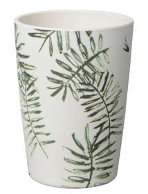 Bambusowy kubek ze wzorem liścia palmy. Wymiary:8 x 11 cm Pojemność: 400ml Można myć w zmywarce. Materiał: Bamboo