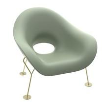 Fotel PUPA - zielony/mosiadz